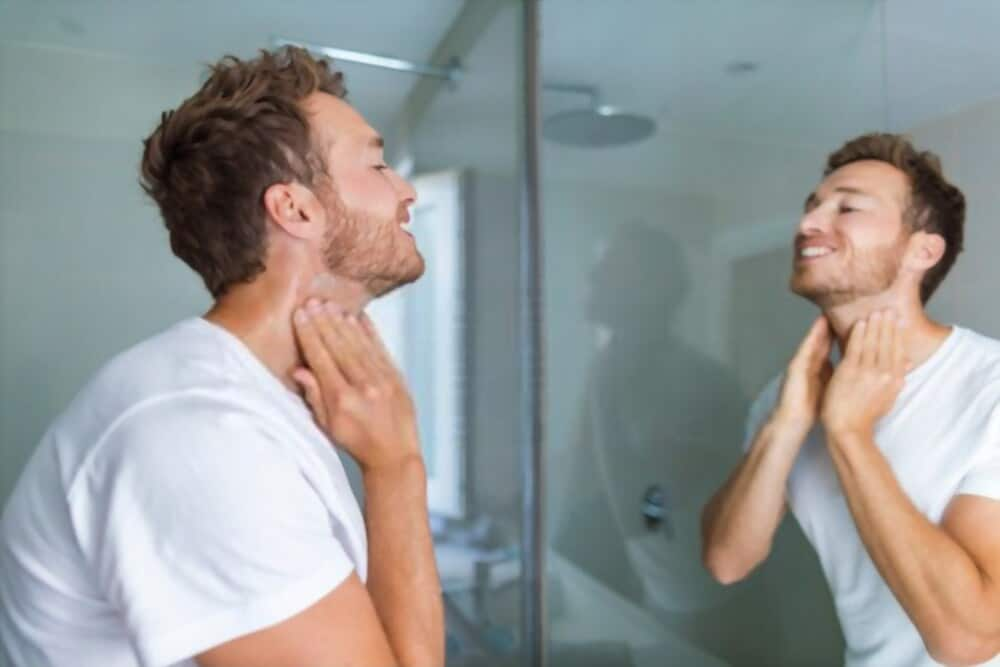 man happy with close shave